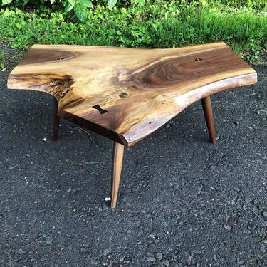 Midcentury Live Edge Side Table , Mid Century Modern , Danish Modern , Handmade Furniture , End Table , George Nakashima  Style Minguren by donyacovella