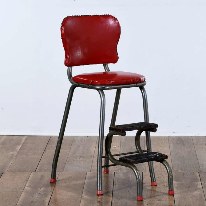 Mid Century Industrial Red Step Stool