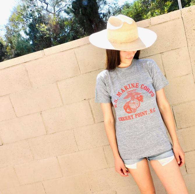US Marine Corps Shirt // vintage 70s 80s cotton boho grey USA military Marines tee t-shirt military t top blouse thin hippy corp // S Small by FenixVintage