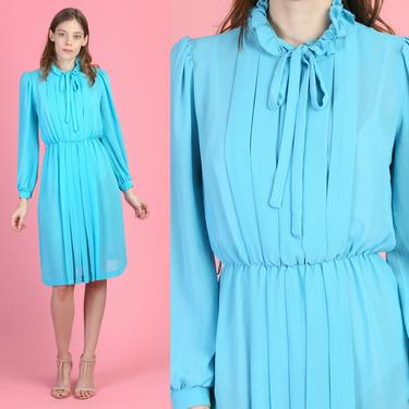 70s Sheer Blue Secretary Dress - Small | Vintage Ascot Tie Long Sleeve Knee Length Pleated Dress by FlyingAppleVintage