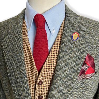 Vintage HARRIS TWEED 100% Wool Blazer ~ 44 R ~ Herringbone ~ jacket / sport coat ~ Preppy / Ivy / Trad ~ Made in Britain by SparrowsAndWolves