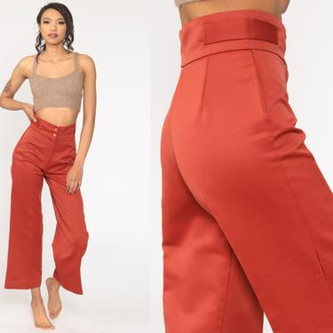 Rust Bell Bottoms Pants 70s Boho Hippie Red-Orange Bellbottom High Waisted 1970s Vintage Bohemian Trousers High Rise Small S by ShopExile