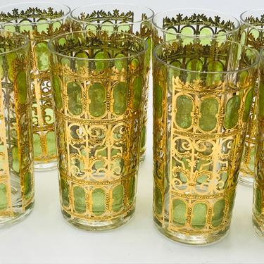 Vintage Culver Glass SIGNED Olive green scroll GOLD hiball set 8 culver gate trellis water vintage - 22K Gold encrusted High ball Tumblers by JoAnntiques
