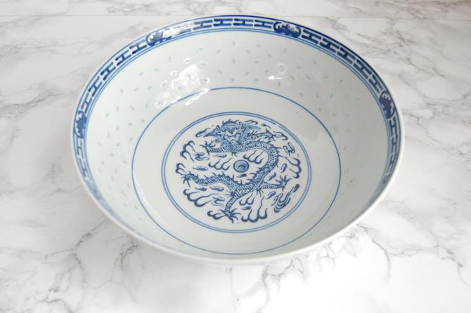 Chinese Porcelain Bowl - Chinese Soup Bowl Rice Bowl - Rice Eyes Dragon Pattern by PursuingVintage1