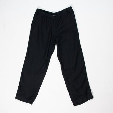 Combe Pants — vintage linen pants / 90s J. Jill elastic waist relaxed fit summer pants / medium comfy minimalist black wide-leg lounge pants by fieldery
