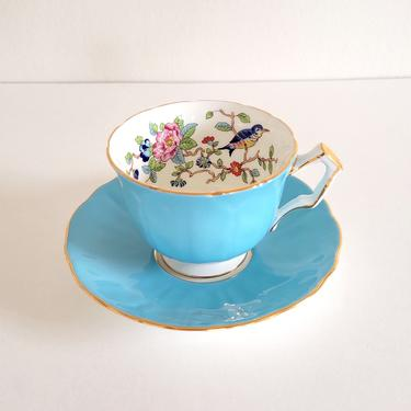 Vintage English Bone China Teacup & Saucer, Aynsley Pembroke in Turquoise Porcelain by CivilizedCrow