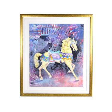 "Yankel Ginzburg ""Organic Sound"" Painting Carousel Horse Abstract Scene by PrairielandArt"