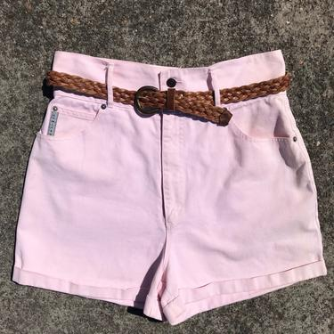 90's very high waisted pink denim shorts~ thick waistband~ mom jeans shorts~ rolled cuff~ 80s 90s trendy hipster shorts size L by HattiesVintagePDX