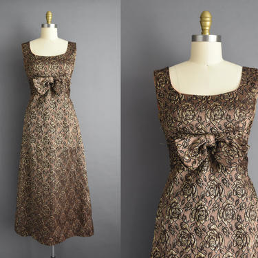 vintage 1960s | Gorgeous Sparkly Gold Rose Floral Cocktail Party Bridesmaid Full Length Wedding Dress | Small Medium | 60s dress by simplicityisbliss