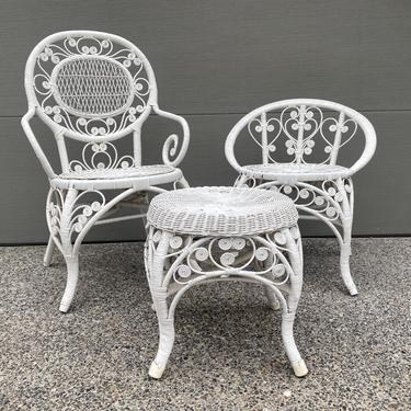 Vintage White Wicker and Cane Peacock Style Chair Set by DesertCactusVintage