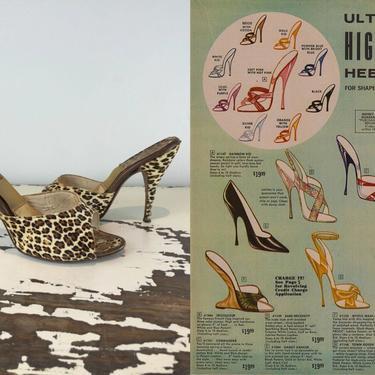 Stalking Your Prey - Vintage 1950s 1960s Printed Fur Leopard Springolators Heels Shoes Slides - 7M by RoadsLessTravelled2