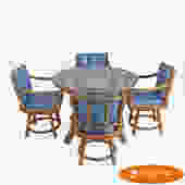 Ficks Reed Dining Set With 4 Swivel Chairs