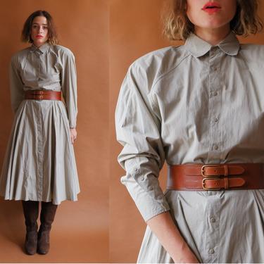 Vintage 80 Strong Shoulder Cotton Dress/ 1980s Batwing Kenar Kahki Snap Up Dress/ Size Medium by bottleofbread