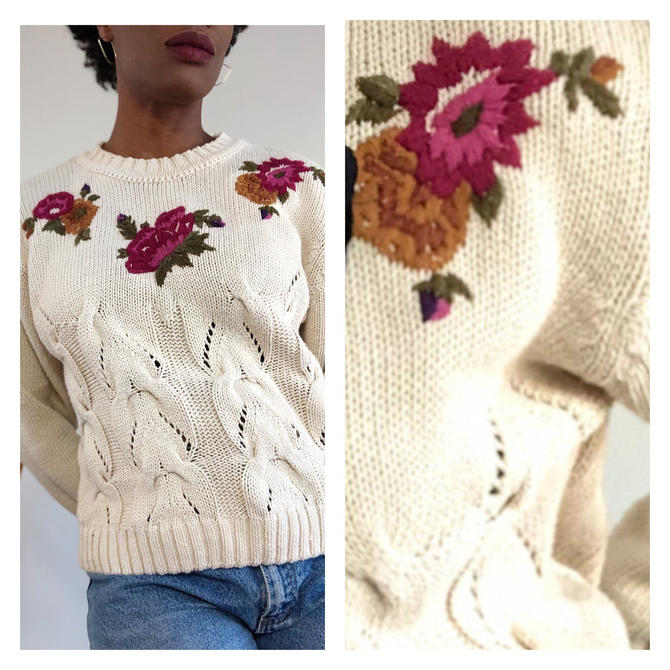 Vintage 1980s 1990s 90s Floral Embroidered Sweater Jumper Pullover Beige Cable Knit Crew Neck Top Cotton Small Medium by KeepersVintage