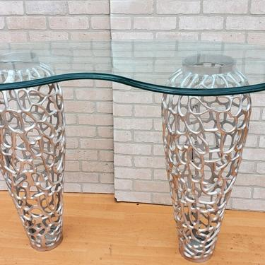 Contemporary Silver Pierced Metal Base with Curved Glass Top Console Table
