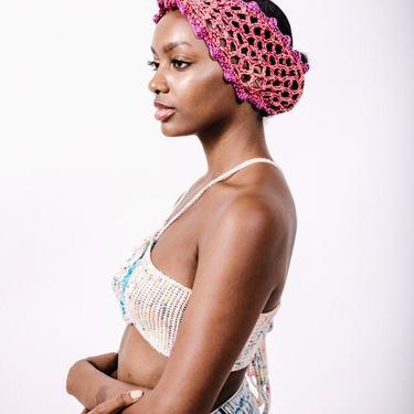 Sojourn Bandana in Coral Majesty/Crochet Headband/Metallic Cotton Mesh Turban by KonjoCrochet
