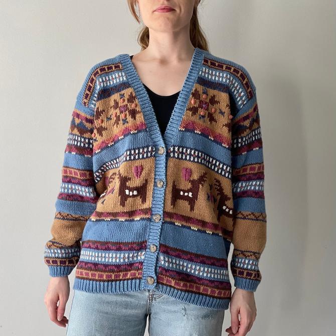 Vintage Jantzen Christmas Reindeer Cardigan Sweater, Size Large by Northforkvintageshop