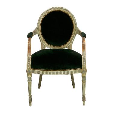 19th Century French Louis XVI Armchair W/ Dark Green Velvet Upholstery. Desk Chair. Side Chair. Accent Chair. by StandOutSpaces