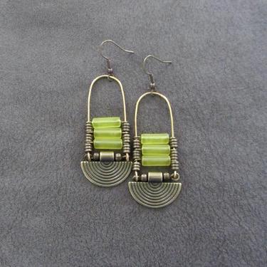 Yellow sea glass earrings, chandelier earrings, statement earrings, bold earrings, etched brass earrings, tribal ethnic earrings, chic by Afrocasian