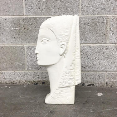 Vintage Statue Retro 1980s Ceramic + Ancient Egyptian + Bust + White + Abstract Sculpture + Pottery + Glaze Finish + Egypt + Home Decor by RetrospectVintage215