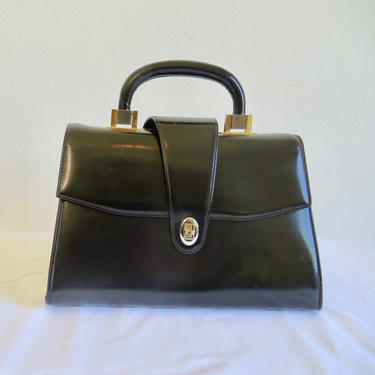Vintage 1960's French Black Leather Structured Purse Handbag Top Handle Gold Hardware Dofan 60's Handbags Made in France by seekcollect
