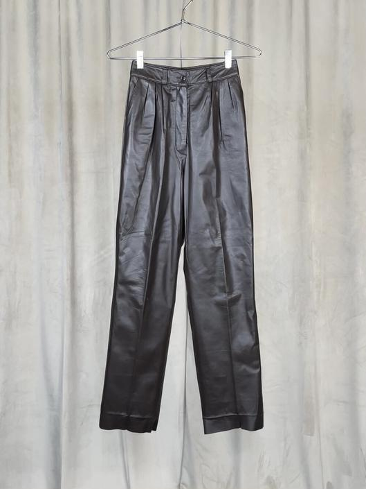 Vintage Brown Pleated Leather Trousers