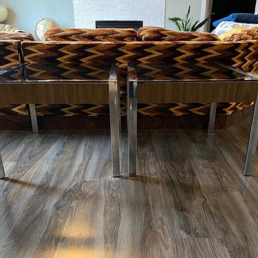 Vintage 1970s Chrome, Laminate and Smoked Glass End Table Set by DesertCactusVintage