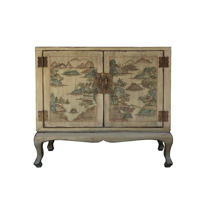 Light Olive Green Lacquer Scenery Mid Size Credenza Table Cabinet cs6088E by GoldenLotusAntiques