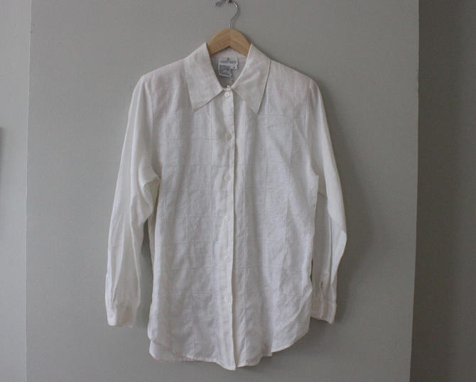 Vintage White Linen Textured Long Sleeve Button-Up Top Women's Size S M by NeonSkyVintageMN