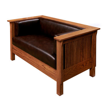 Mission Arts & Crafts Stickley style Spindle Leather Settle Loveseat by DaleMartinFurniture