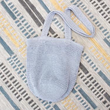 Vintage Early 2000s Y2K Crochet Shoulder Bag - Blue Periwinkle Boho Purse by SecondShiftVintage