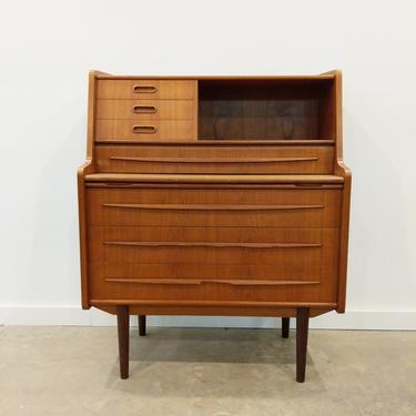 Vintage Danish Modern Teak Secretary Desk / Vanity with Mirror by FarOutFindsNY