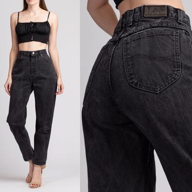 "Vintage High Waisted Black Lee Jeans - Medium, 29"" | 80s 90s Grunge Denim Tapered Mom Pants by FlyingAppleVintage"