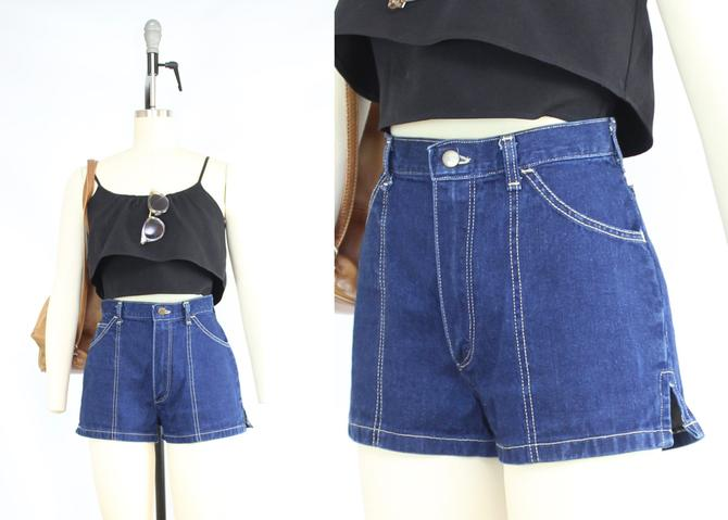 "Vintage 70's High Waisted Dark Blue Denim Shorts / 1970's WRANGLER Booty Shorts / Dark Denim / Pockets / Women's Size 6 / 27"" Waist by RubyThreadsVintage"