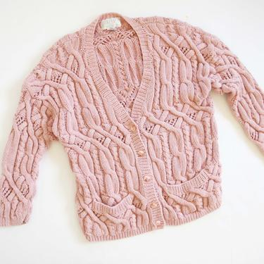 Vintage 90s Cardigan S M - Pastel Cable Knit Cardigan Sweater - Rose Pink Cotton Cardigan - 90s Clothing - Cozy Fall Sweater - Grunge by MILKTEETHS