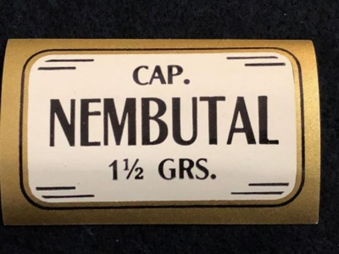 1920s Un Used Apothecary Label Cap. Nembutal 1 1/2 grams Barbiturate DrugDowner