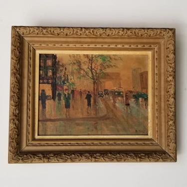 1960s Impressionist Style Paris Street Scene Oil Painting, Framed. by MIAMIVINTAGEDECOR