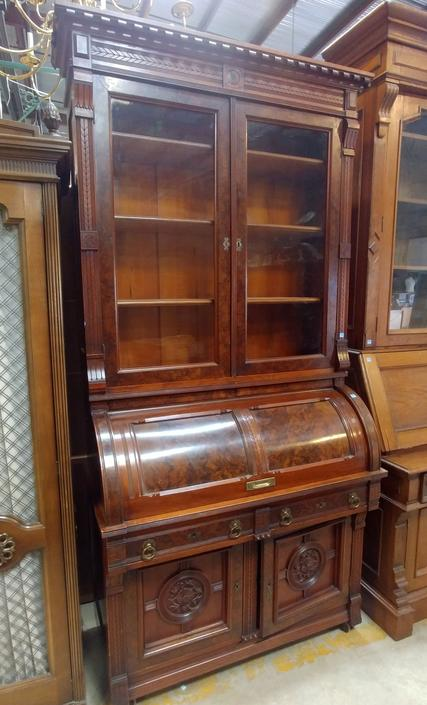 Vintage Secretary Desk with Hutch and Cylinder Roll