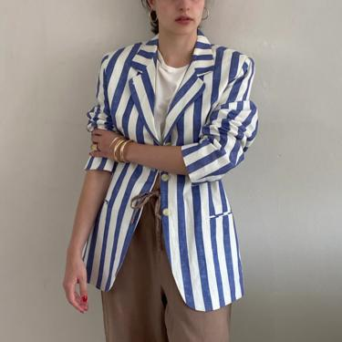 90s striped linen blazer / vintage linen cotton ocean blue awning striped lightweight blazer | S M by RecapVintageStudio