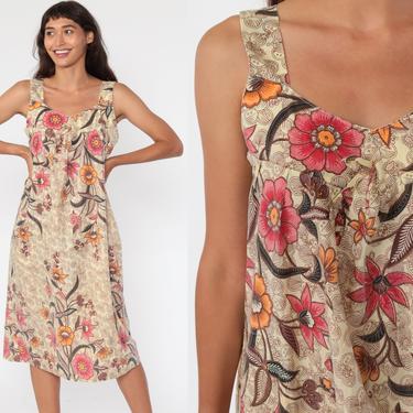 Floral Sun Dress 70s Boho Batik Dress Summer Midi Sundress TRAPEZE Tent 1970s Bohemian Vintage Smock Hippie Small Medium by ShopExile