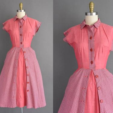 1950s vintage dress - Toni Todd pink cotton short sleeve full skirt day dress - Size Medium - 50s dress by simplicityisbliss