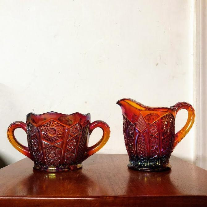 Vintage Indiana Glass Heirloom Sunset Carnival Glass Sugar and Creamer by OverTheYearsFinds
