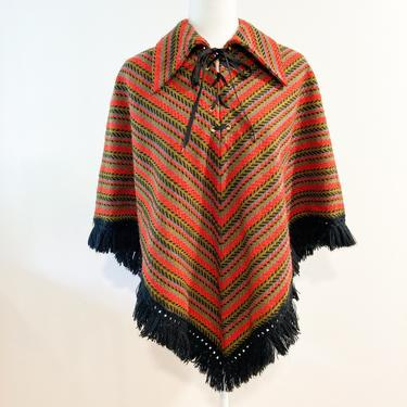 70s Herringbone Lace Up Fringed Cape Poncho by MuteVintage