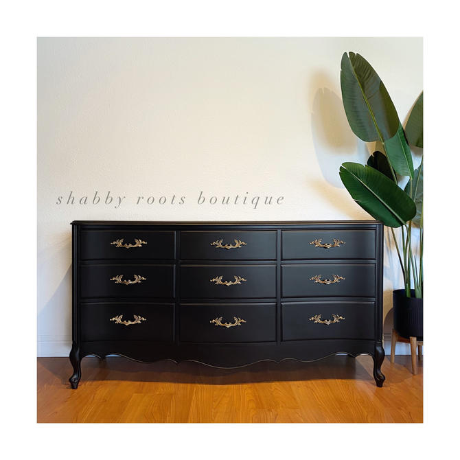 NEW! Matte Black French provincial vintage triple dresser antique chest of drawers with gold hardware with 9 drawers - San Francisco CA by ShabbyRootsBoutique