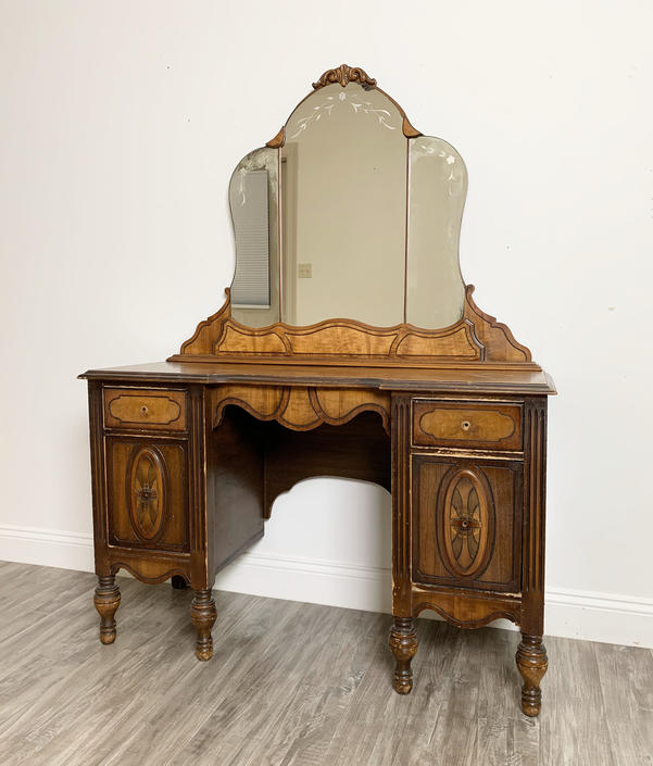 CUSTOMIZE US - Antique Vanities with Mirrors and Benches - Available to Customize, Vintage Dressing Table Painted Your Choice by ForeverPinkVintage