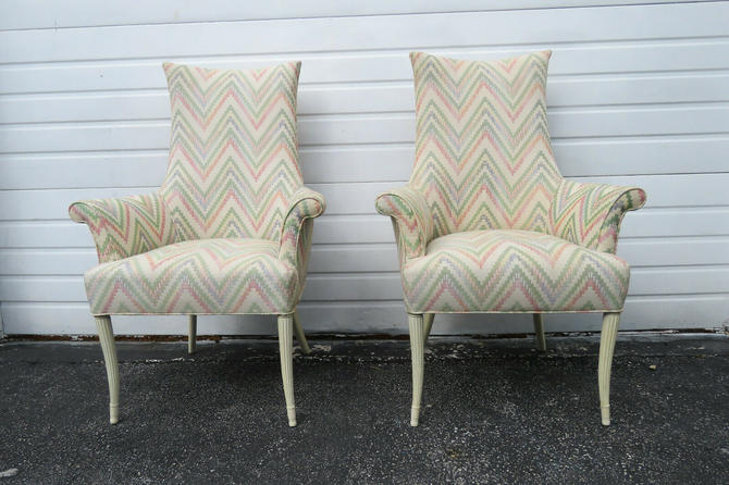 Vintage Painted Tall Pair of Living Bed Room Fireplace Side Chairs 1545