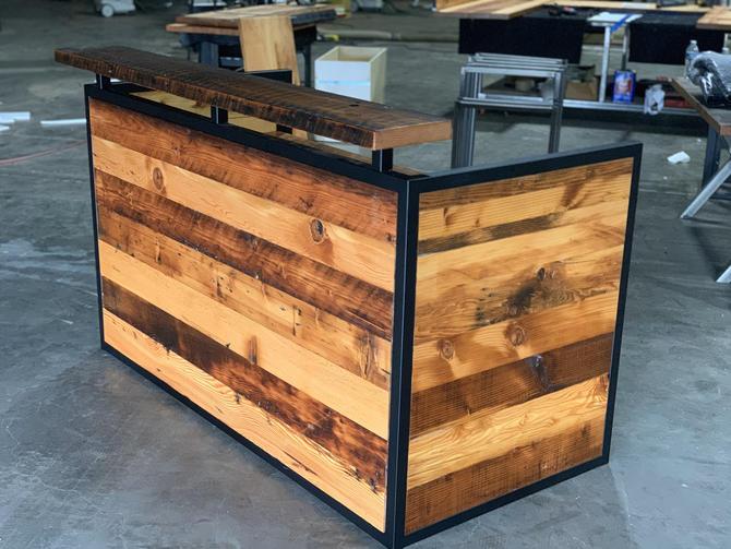 Industrial Reception desk. Reclaimed wood desk. Front counter desk. Office desk. Entry desk. Enclosed desk. Reception counter. Hostess stand by UrbanIndustrialNW