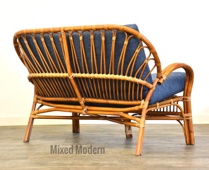 Bamboo Chic Franco Albini Style Loveseat Sofa by mixedmodern1
