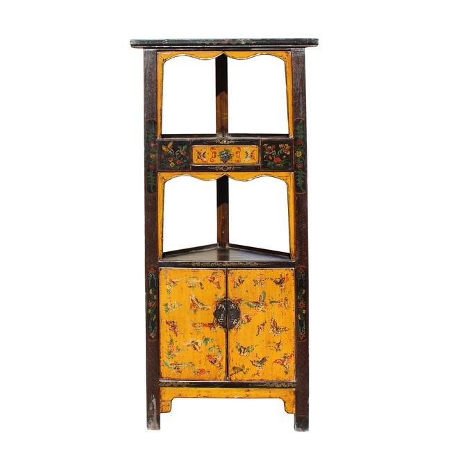 Distressed Yellow Flower Graphic Triangle Corner Display Cabinet cs5415S