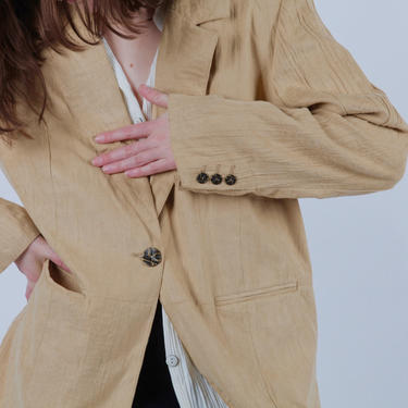 Vintage 90's Super Soft Suede Tan Beige Blazer Jacket by DENIM & CO Large by SonjloVintage
